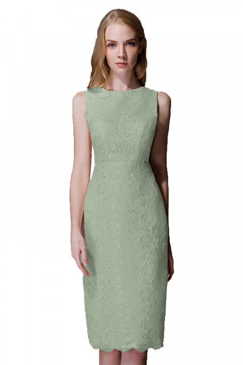 Elegant Boatneck Lace Short Bridesmaid Dress with Keyhole Back