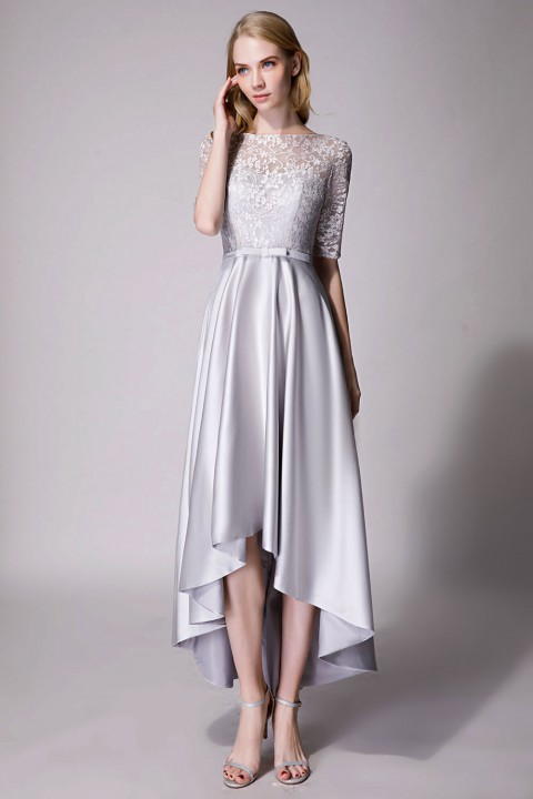 Clearance | Asymmetrical Lace Satin Bridesmaid Dress with Elbow Sleeves