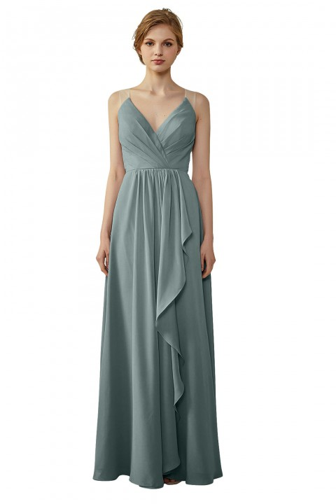 Ruffled Skirt Lace Illusion Back V-Neck Bridesmaid Dress