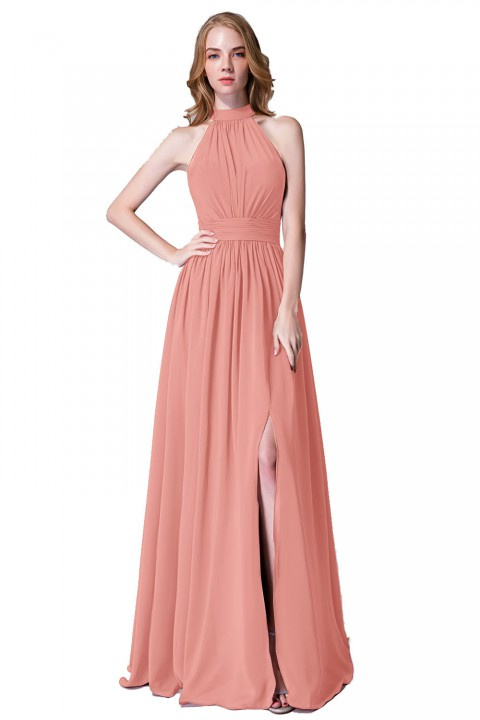 A-Line Cut Illusion Neckline High Neck Side Slit Bridesmaid Dress