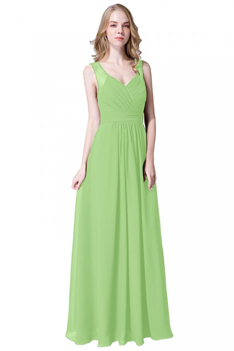 V Neck Straps Chiffon Bridesmaid Dress with Lace