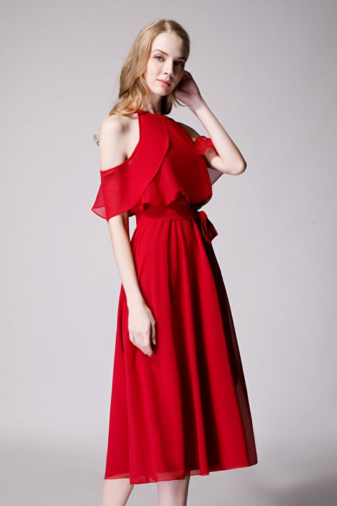 Flirty Off Shoulder Chiffon Ruffled Detachable Belt Bridesmaid Dress Short