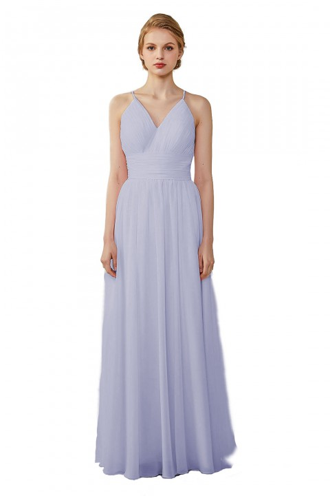 Spaghetti Straps V-Neck Bridesmaid Dress Open Back with Triangle Lace Detail