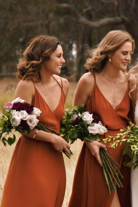 Open Back Adjustable Spaghetti Straps Bridesmaid Dress With Split