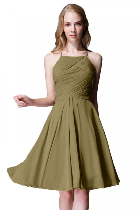 Elegant Halter Tea Length Pleated Chiffon Bridesmaid Dress with Tie Back
