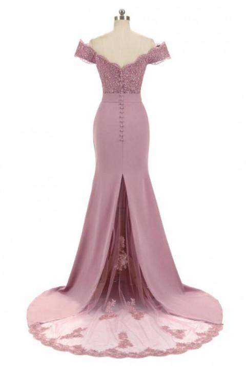 Slash Neck Off Shoulder Lace Mermaid Bridesmaid Dress with Train