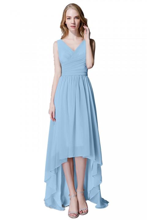 Romantic High-Low V-Neck Chiffon Ruched Bridesmaid Dress