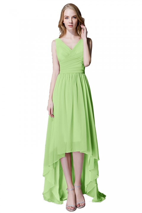 Romantic High-Low V-Neck Chiffon Ruched Bridesmaid Dress