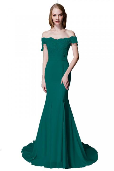 64218b6611a8 Elegant Mermaid Off Shoulder Chiffon Lace Bridesmaid Dress with Train