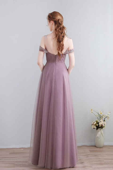 Lace Illusion Scoop Neckline Cold Shoulder Tulle Bridesmaid Dress with Open Back
