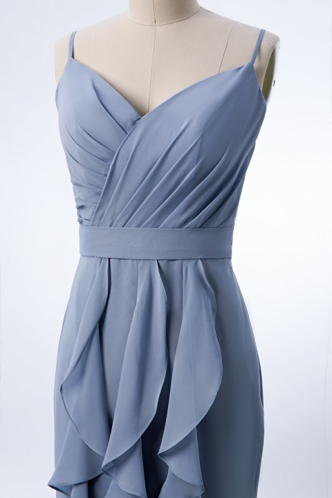 Spaghetti Strap V Neck Ruched Bodice Chiffon Mermaid Bridesmaid Dress with Ruffles Decorated Skirt