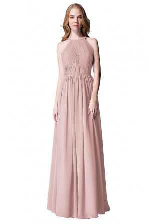 66376344b0a Pleated A-Line Scoop Neck Chiffon Bridesmaid Dress