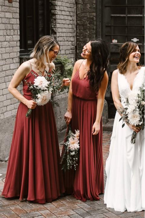 Spaghetti Straps V Neck Chiffon Bridesmaid Dress with Open Back