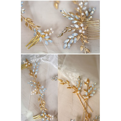 Leaf Shaped Pearl Decor Bridal Hair Comb