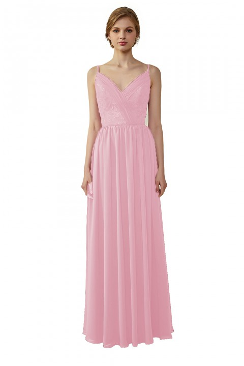 Double Spaghetti Straps Draped Lace Open-back Chiffon Bridesmaid Dress