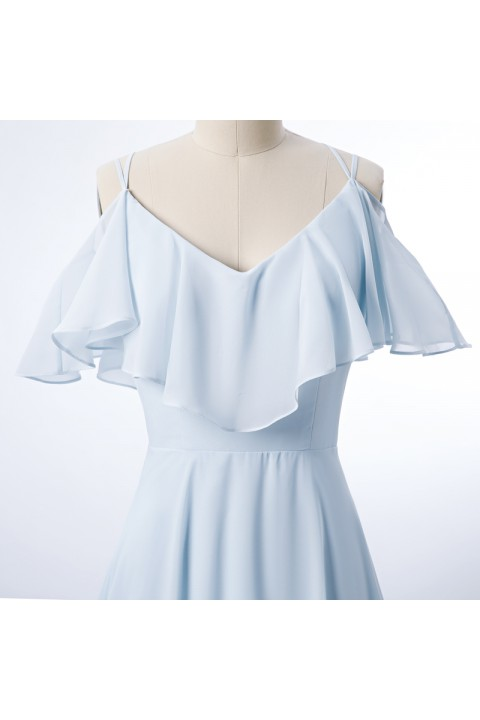 Double Spaghetti Straps V Neck Chiffon Bridesmaid Dress with Flouncing Top