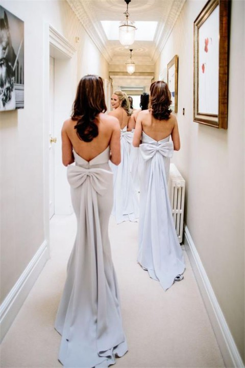 Tube Top Mermaid Open Back with Bow Bridesmaid Dress with A Train