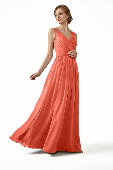 f90f5d840c87 Lace Illusion Back Ruched V-Neck Bridesmaid Dress with Sash