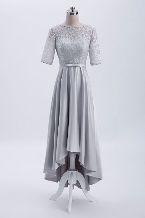 Satin High-Low Elbow Sleeves Lace Scoop Back Bridesmaid dress