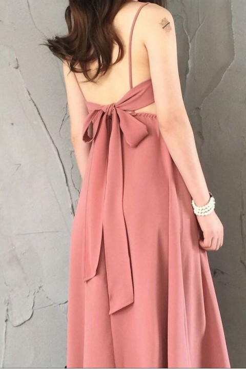 Spaghetti Straps V Neck Bow Back Bridesmaid Dress Long