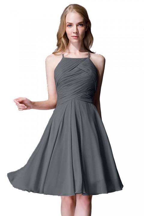 Elegant Halter Tea Length Pleated Chiffon Bridesmaid Dress with Tie Back