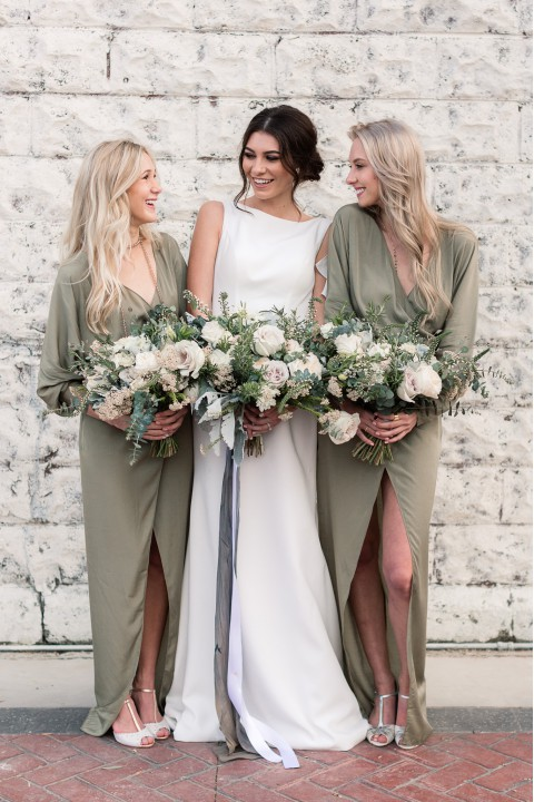 V Neck Long Sleeves Bridesmaid Dress with High Slit