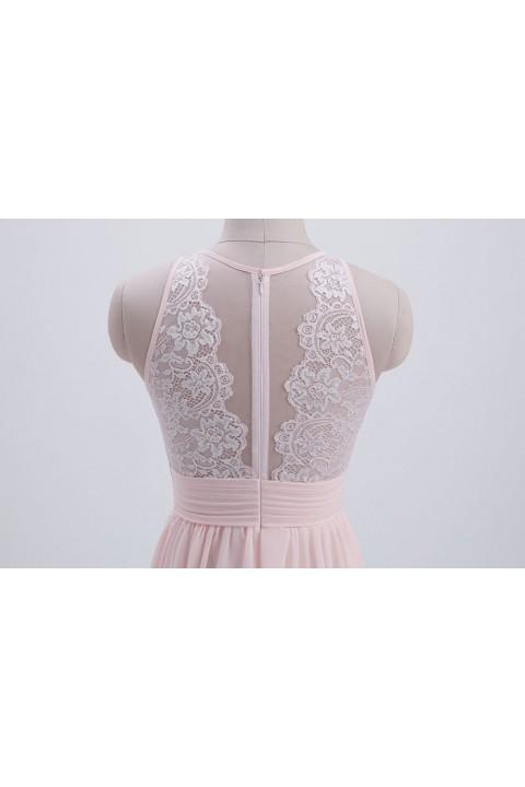 Illusion Lace Neck & Back Scoop Side Slit Bridesmaid Dress