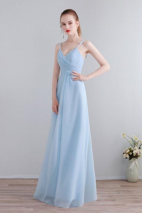 Lace Spaghetti Straps Illusion V Neck & Back Chiffon Bridesmaid Dress
