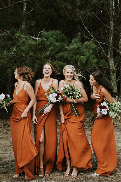 Open back bridesmaid dress with split