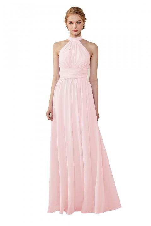 High Neck Chiffon Lace Triangle Back Halter Bridesmaid Dress