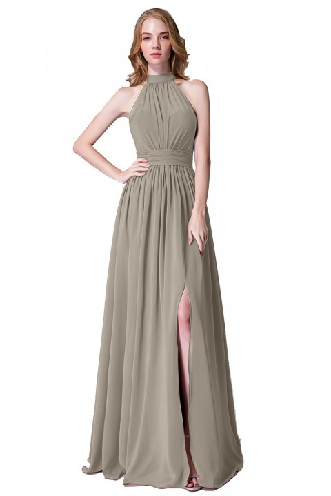 Illusion Neckline High Neck Halter Side Slit Chiffon Bridesmaid Dress with Keyhole