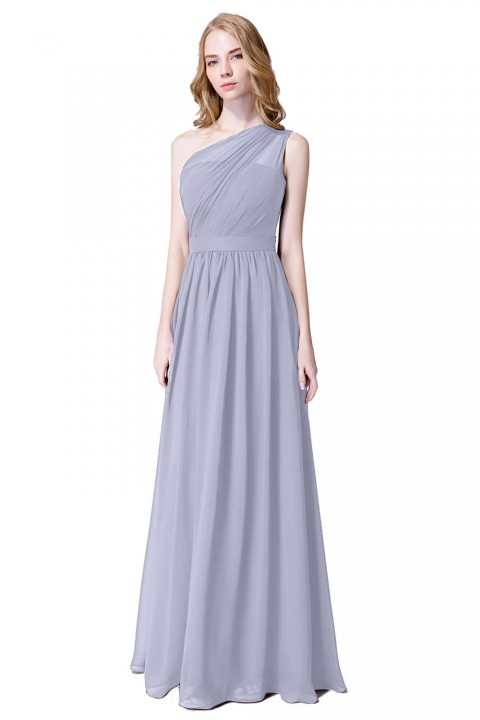 Illusion One-Shoulder Floor-Length Chiffon Bridesmaid Dress