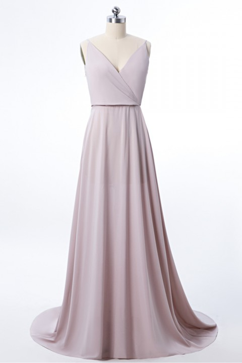Low V Neck & Back Spaghetti Straps Bridesmaid Dress with Train