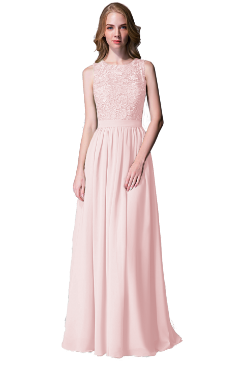 Clearance |Lace Upper Body Chiffon Bridesmaid Dress without Sleeves
