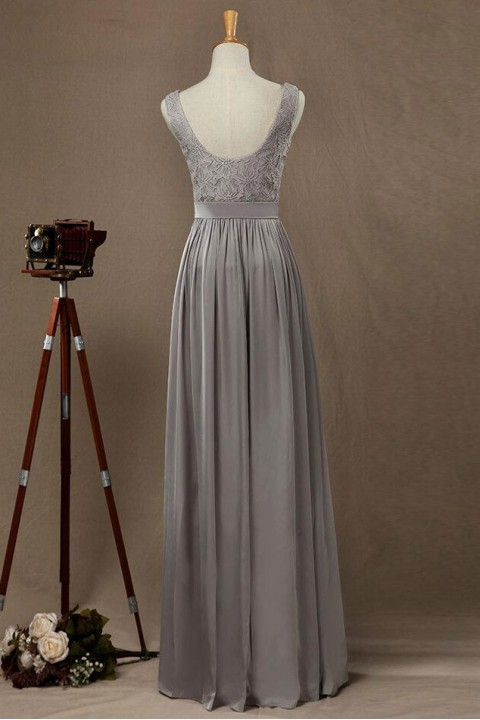 Boatneck Low Scoop Back Lace Bridesmaid Dress with Silk Belt