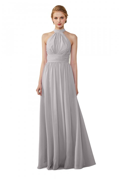 3ed6779700c Halter Neckline Chiffon Lace Back Halter Bridesmaid Dress with Sash