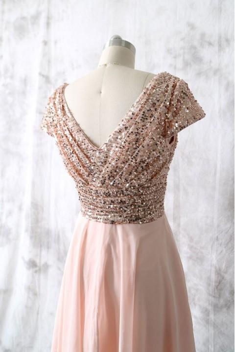 Cup cap v neck sequin bridesmaid dress short