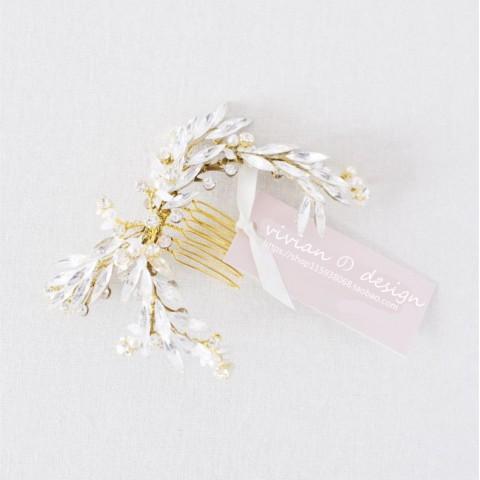 Flower Rhinestone Decor Bridal Hair Comb