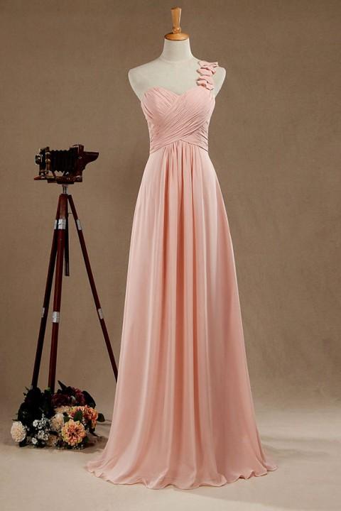 One strap Bridesmaid Dress sweetheart neckline dress
