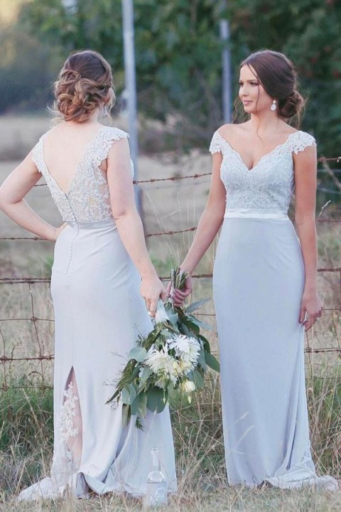 Lace cup cap v neckline and back bridesmaid dress with back lace split
