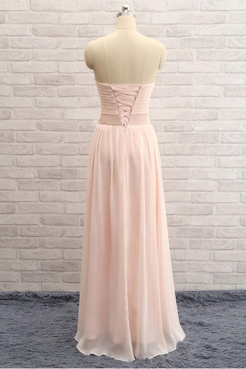 Twist bodice sweetheart chiffon corset bridesmaid dress with belt