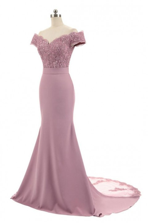 Slash Neck Off Shoulder Lace Mermaid Bridesmaid Dress with Train