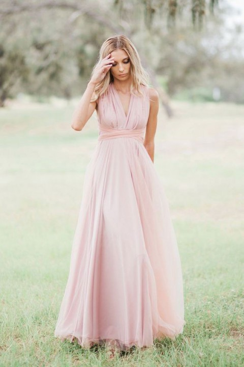 Multi-Wear Open Back Tulle Bridesmaid Dress Long