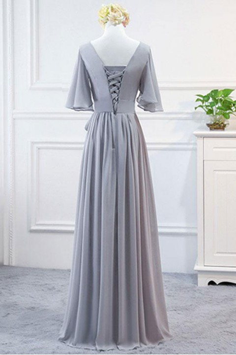 Flutter Sleeves V Neck Ruched Bridesmaid Dress with Belt