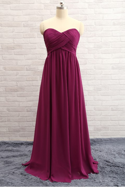 Simple Sweetheart Pleated Chiffon Bridesmaid Dress Long