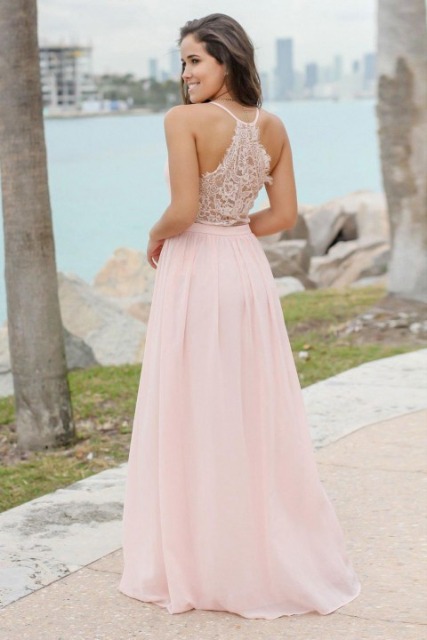 Illusion Lace Back Tank V Neck Bridesmaid Dress with Spaghetti Straps