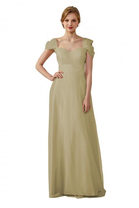 Sweetheart Neckline Cold Shoulder Long V back Tulle Bridesmaid Dress