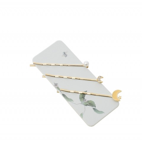 Moon Shaped Pearl Decor Hairpin (4 in a set)