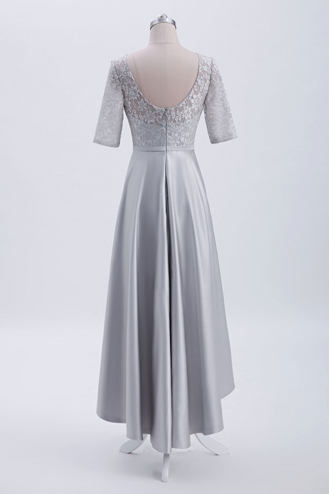 Asymmetrical Lace Satin Bridesmaid Dress with Elbow Sleeves