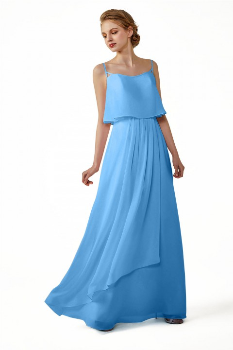 Boho Spaghetti Straps Chiffon V-Back Bridesmaid Dress with Flounce